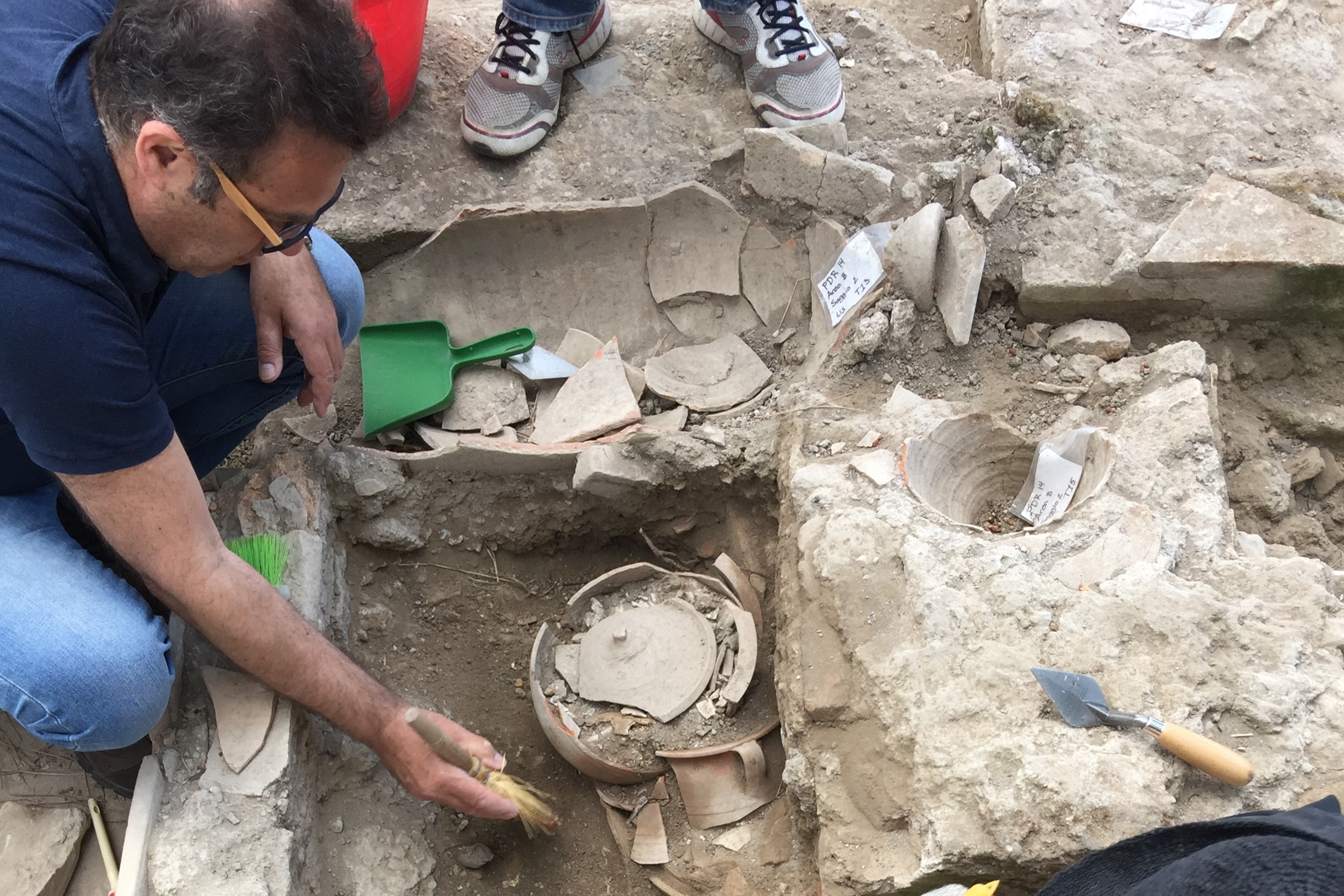 An excavation is a collaborative team effort as history. Arya works side by side with trained specialists and experts in their field such as forsensicsanthropologist Pier Paolo Petroni (shown) who helps put the pieces of history together. Courtesy of Darius Arya.
