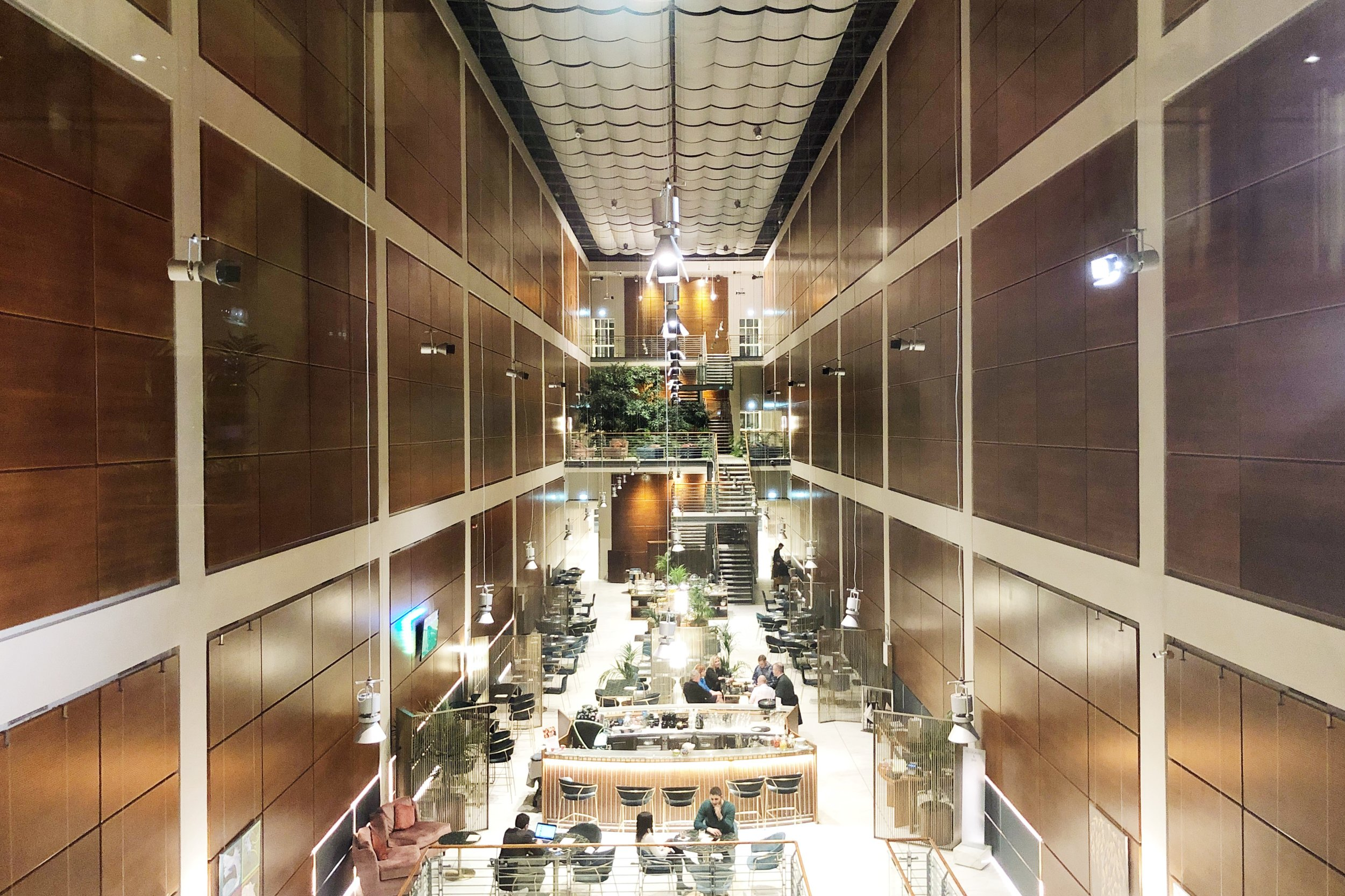 Renzo Piano recreates the lines of the former FIAT HQ in the Doubletree's lounge. Photo: Erica Firpo