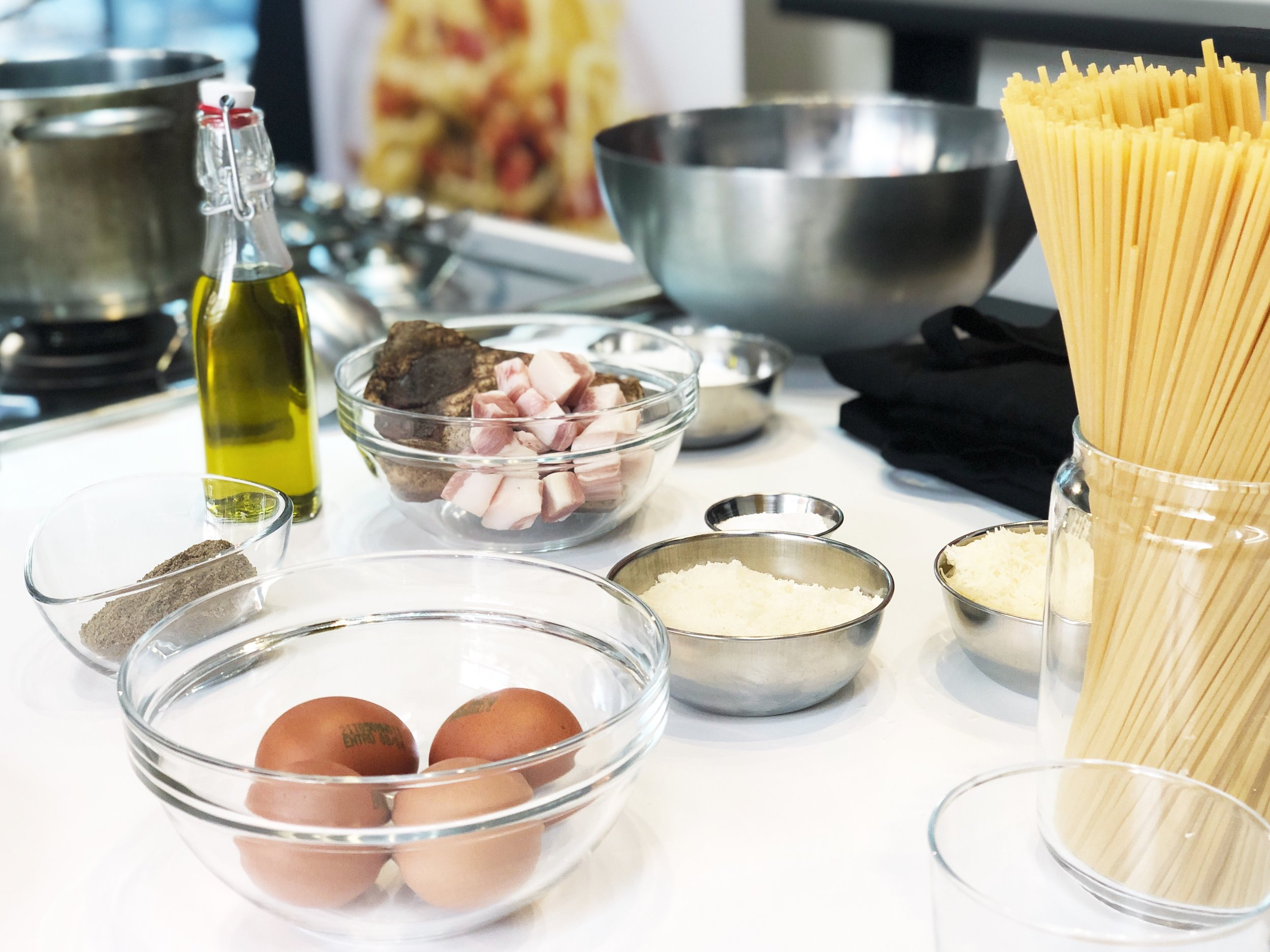 Carbonara's key ingredients. Photo: Erica Firpo
