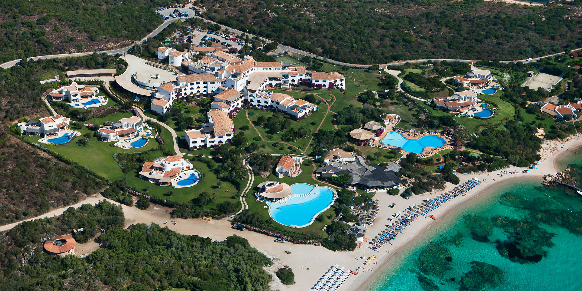 An aerial view of Hotel Romazzino, a Luxury Collection Hotel, Costa Smeralda. (Photo: Marriott International)