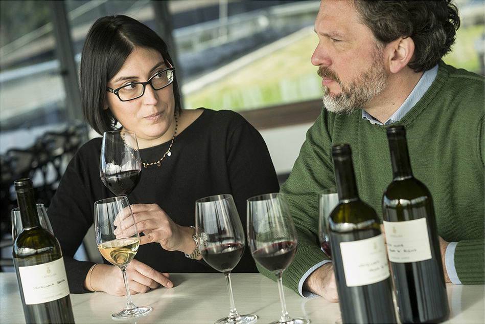 Olga Fusari, Ornellaia's enologist and Axel Heinz, estate director. Courtesy of Ornellaia.