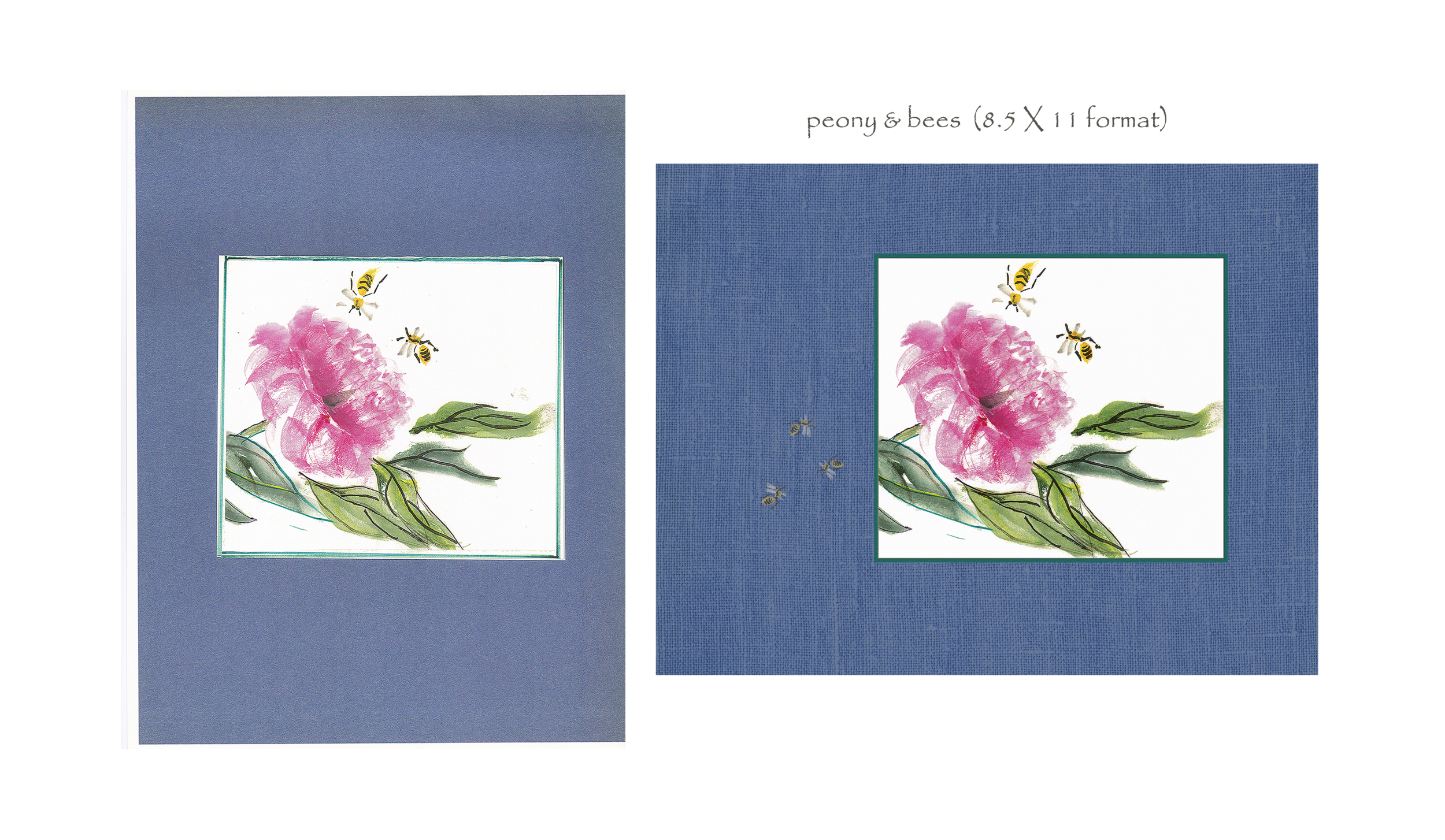 peony & bees (before & after, 8.5 X 11)