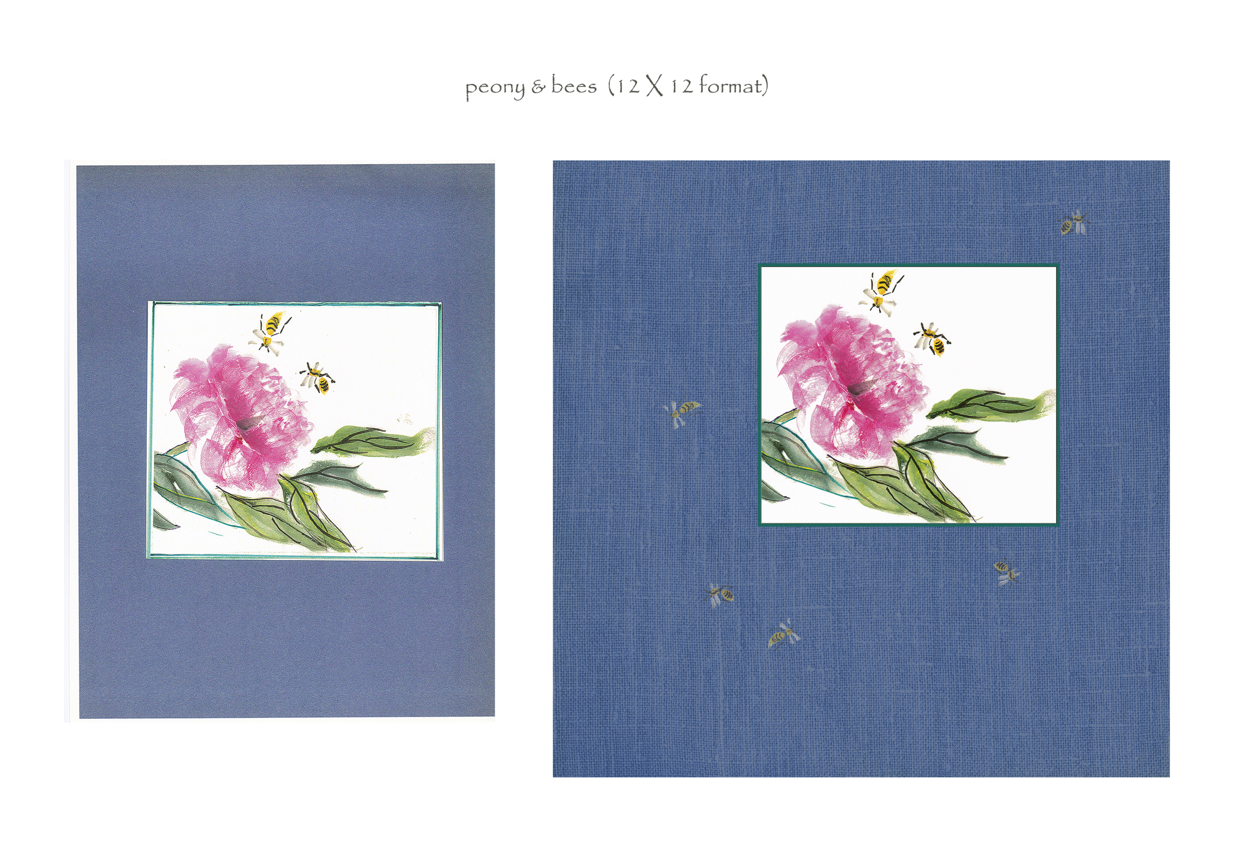 peony & bees (before & after, 12 X 12)