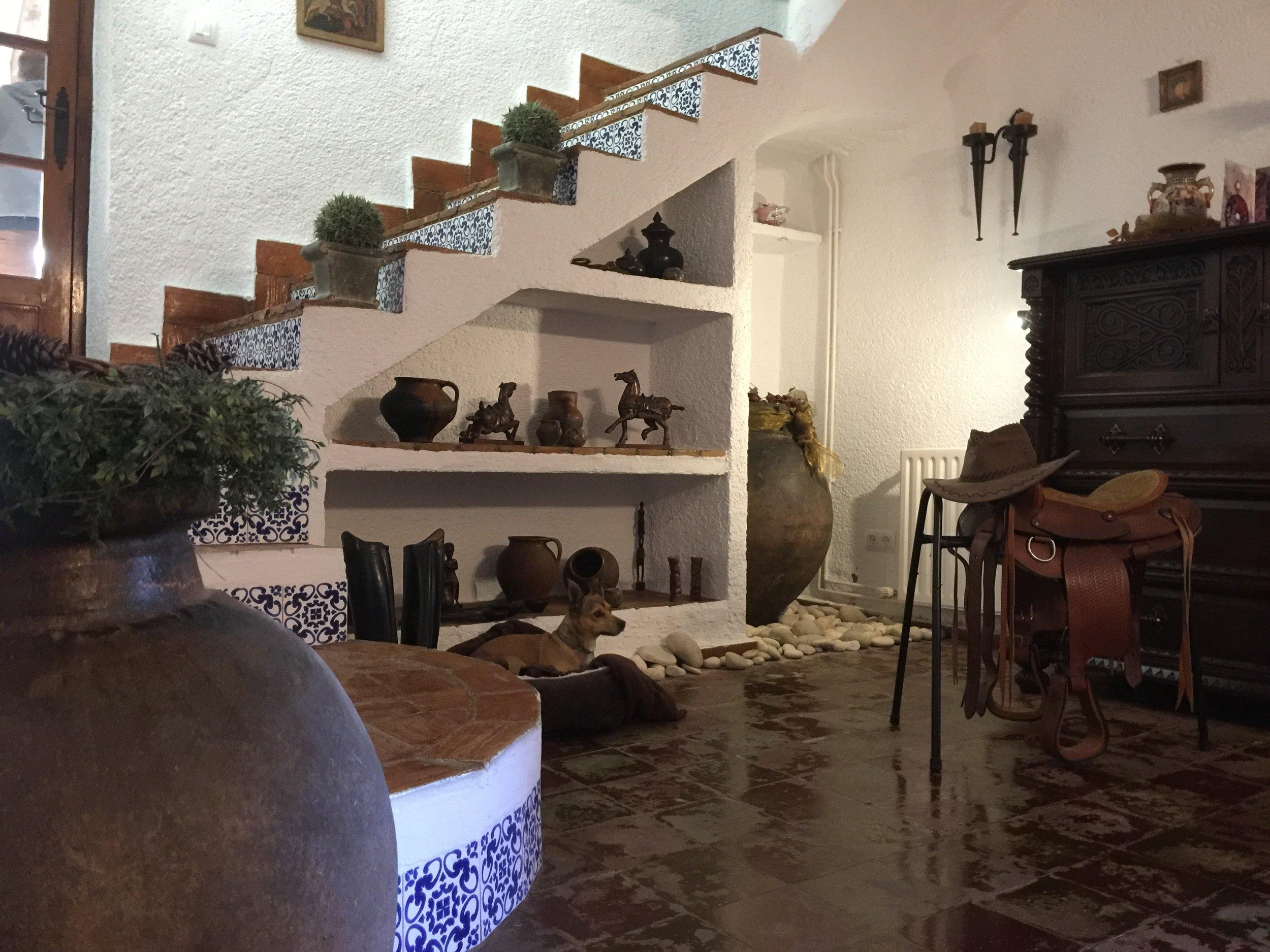 """De Finca van binnen - Binnen is de Finca traditioneel en authentiek opgezet met ruime leefruimtes. Hier bevindt zich de inkomhal met voor de wintermaanden een dining-area. Daarnaast een goed uitgeruste keuken met tevens een ontbijtruimte en een bodega waarin u een goed gevulde """"honesty"""" koel/diepvrieskast zult aantreffen."""
