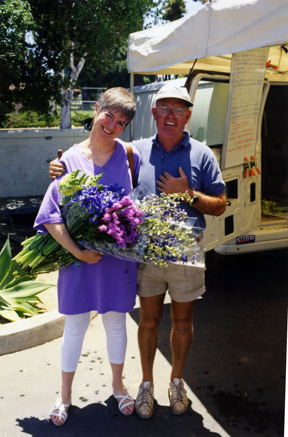 Sherry Morez & Frits de Vries  Sherry retired from head nurse of Pedatrics only to keep giving by being one of the first Flower Empower volunteers, here with the first grower to donate flowers (tulips) Frits (wife Gerda and daughter Barbara not pictured) :(