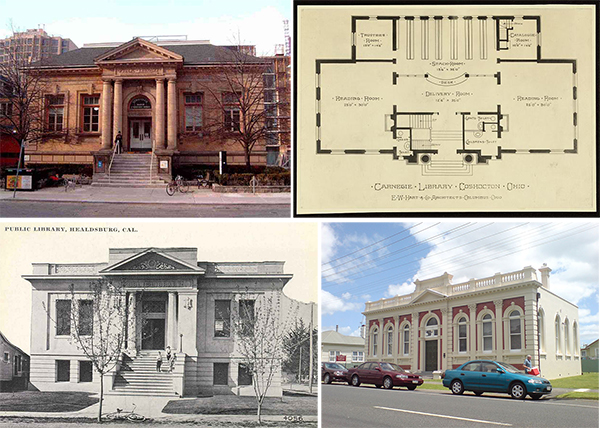 Clockwise from top left: Carnegie Libraries in Toronto (Yorkville Branch); Coshocton, Ohio; Thames, New Zealand; and Healsburg, California.