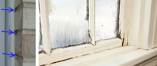 Gaps around windows and at mortar joints (left) can lead to air infiltration and further indoor problems (right)