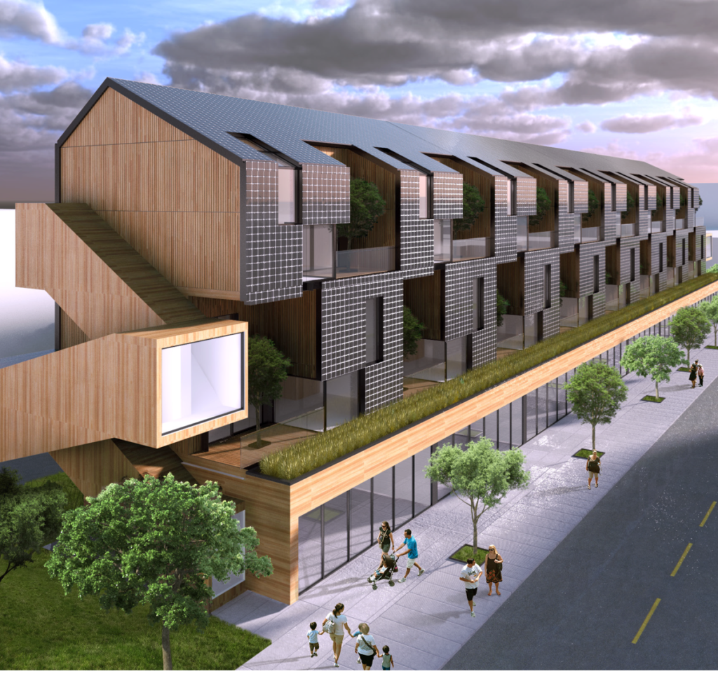Early design by Cheryl Atkinson for stacked town homes along east-west avenues.
