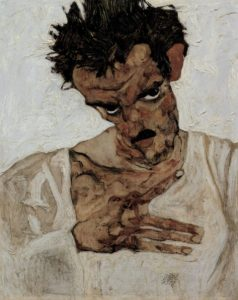 Egon Schiele,  Self Portrait with Head Down , 1912.  Image Source