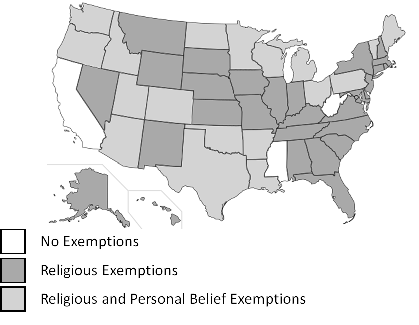 Non-medical exemptions from state immunization requirements, 2017.   Figure adapted from    National Council of State Legislators    (original data source: Immunization Action Coalition, Feb. 2017).    Image adapted from :  https://upload.wikimedia.org/wikipedia/commons/archive/1/1a/20141105170731%21Blank_US_Map_%28states_only%29.svg