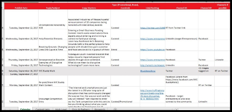 Sample of Editorial Calendar Work