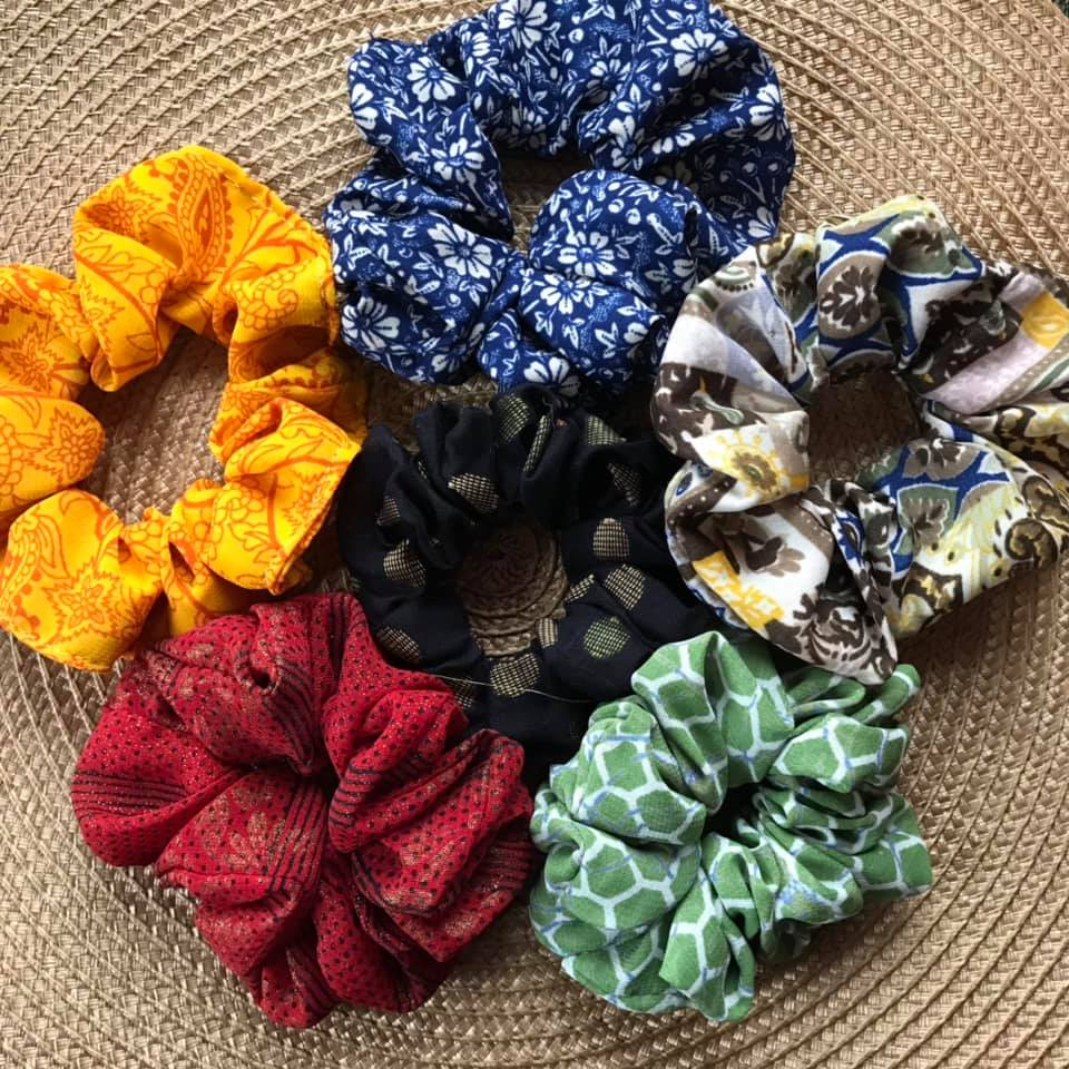 A second scrunchy (because we couldn't pick just one!) ethically made from recycled saris in India from  White Peacock Shop . These scrunchies help support women learning trade and business skills.