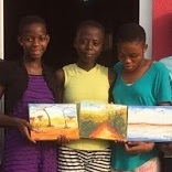 Mary (picture in the middle), a child survivor in Ghana, painted our fall postcard. She was rescued by  Touch A Life  and is recovering and going to school. Write an encouragement note on the postcard and send it back to us. We put one in each survivor care packages!