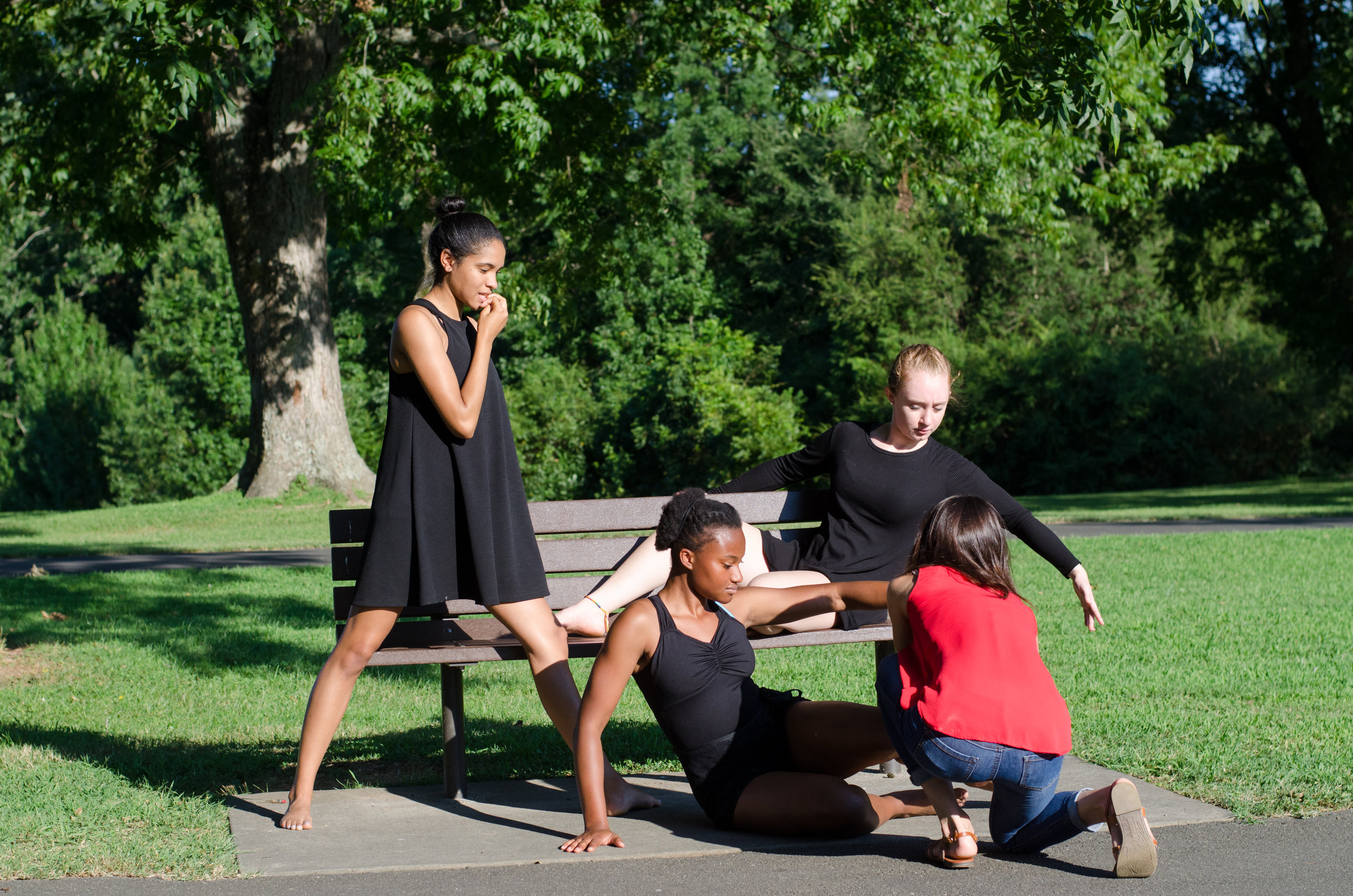 Dancers of Franklin Academy, with Festival Director Masha Maddux, photographed by George Randy Bass.