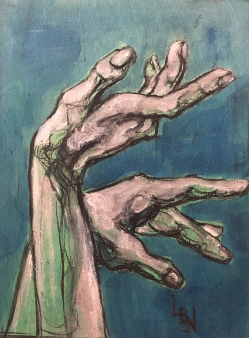 """Hands"" by Linsay Narvaez Charcoal and Acrylic Paint 9x12"