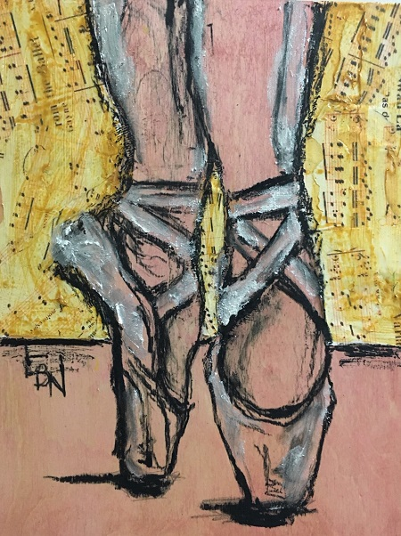 """En Pointe I  by Linsay Narvaez- 9x12"""" Mixed Media Collage"""