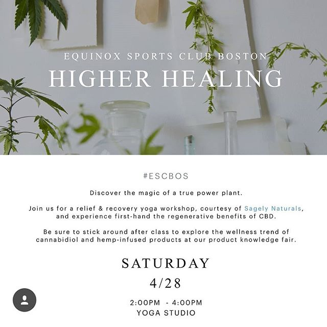 This Saturday in Boston, join @enlivenholistics and @equinox  for an afternoon of Higher Healing. Following a relief and recovery workshop with @paloma_yoga, we'll be sampling and educating at a CBD product knowledge fair alongside @thehealingrose_ , @lucefarm , and more. Enjoy samples of @enlivenholistics infused mango juice from our friends @lifealivecafe, sample our tinctures, and try some of our newest creations. RSVP via escboshigherhealing.splashthat.com 💚 #bostonyoga #healthynothigh #equinoxmademedoit