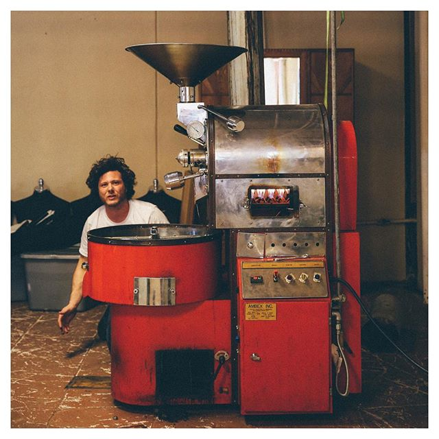 Here's a crazy throwback for #tbt. This photo was from the first day we fired up our roaster in The Lab. A lot has changed and we are way more stylin' now. Come see for yourself! We're open 'til 2 today