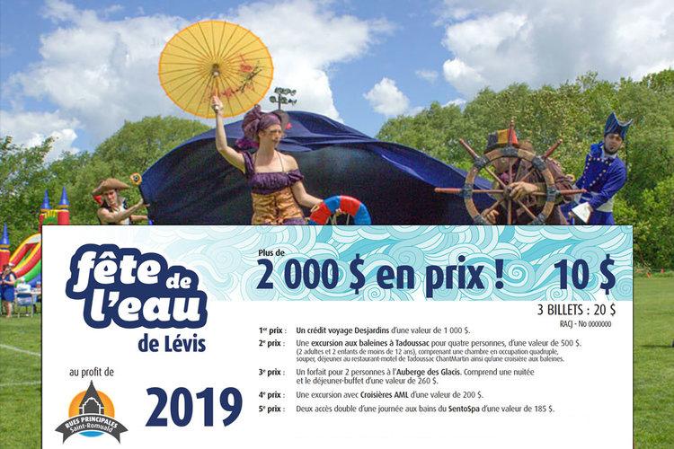 La loterie au profit de la Fête de l'eau de Lévis - Disponible sur le site de la Fête !Coûts, prix et réglements.
