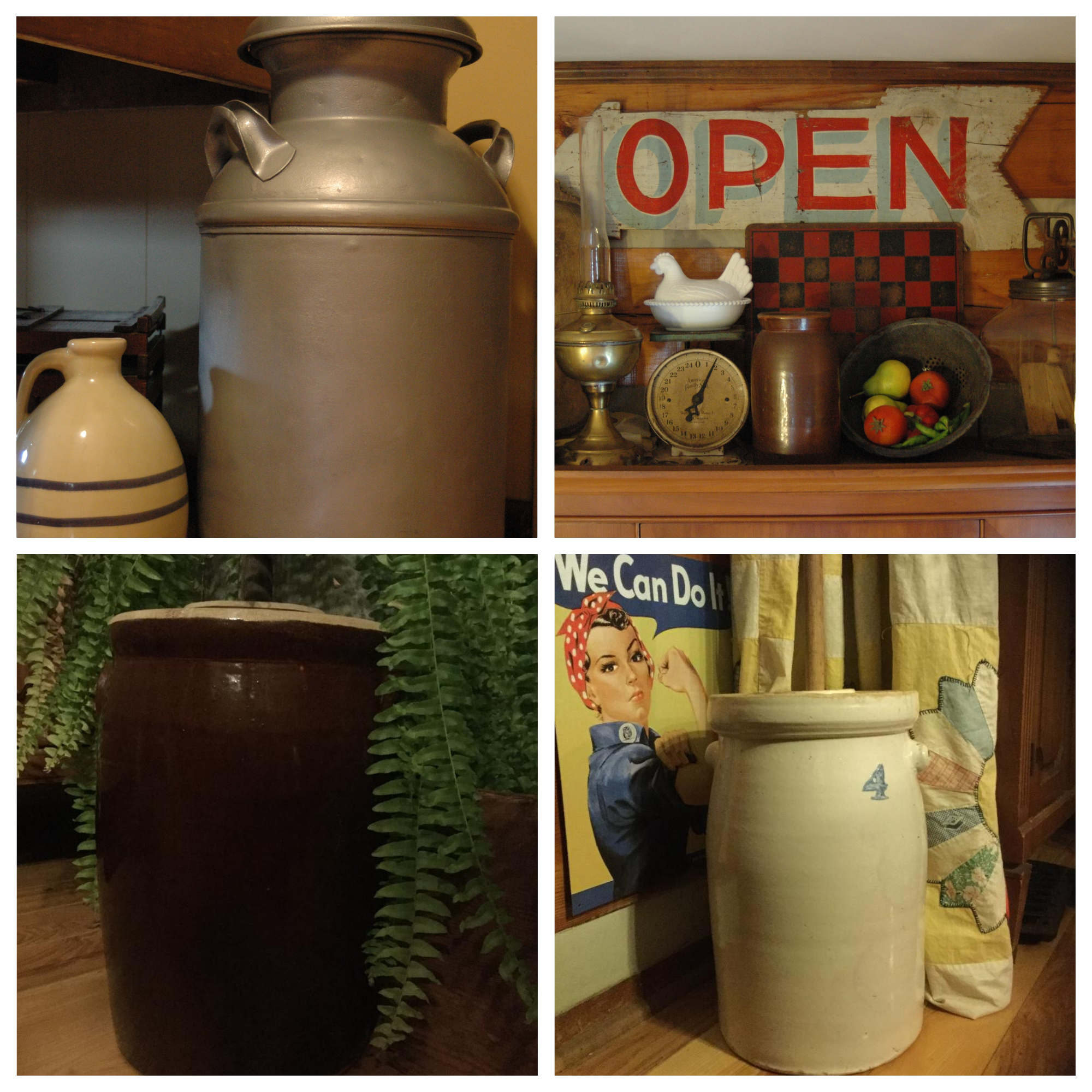 One of my grandfather's milk cans (top left), vintage hand-cranked churn (top right), a pottery churn given to me by a friend (bottom left), and the churn my Aunt Karen gave me (bottom right)