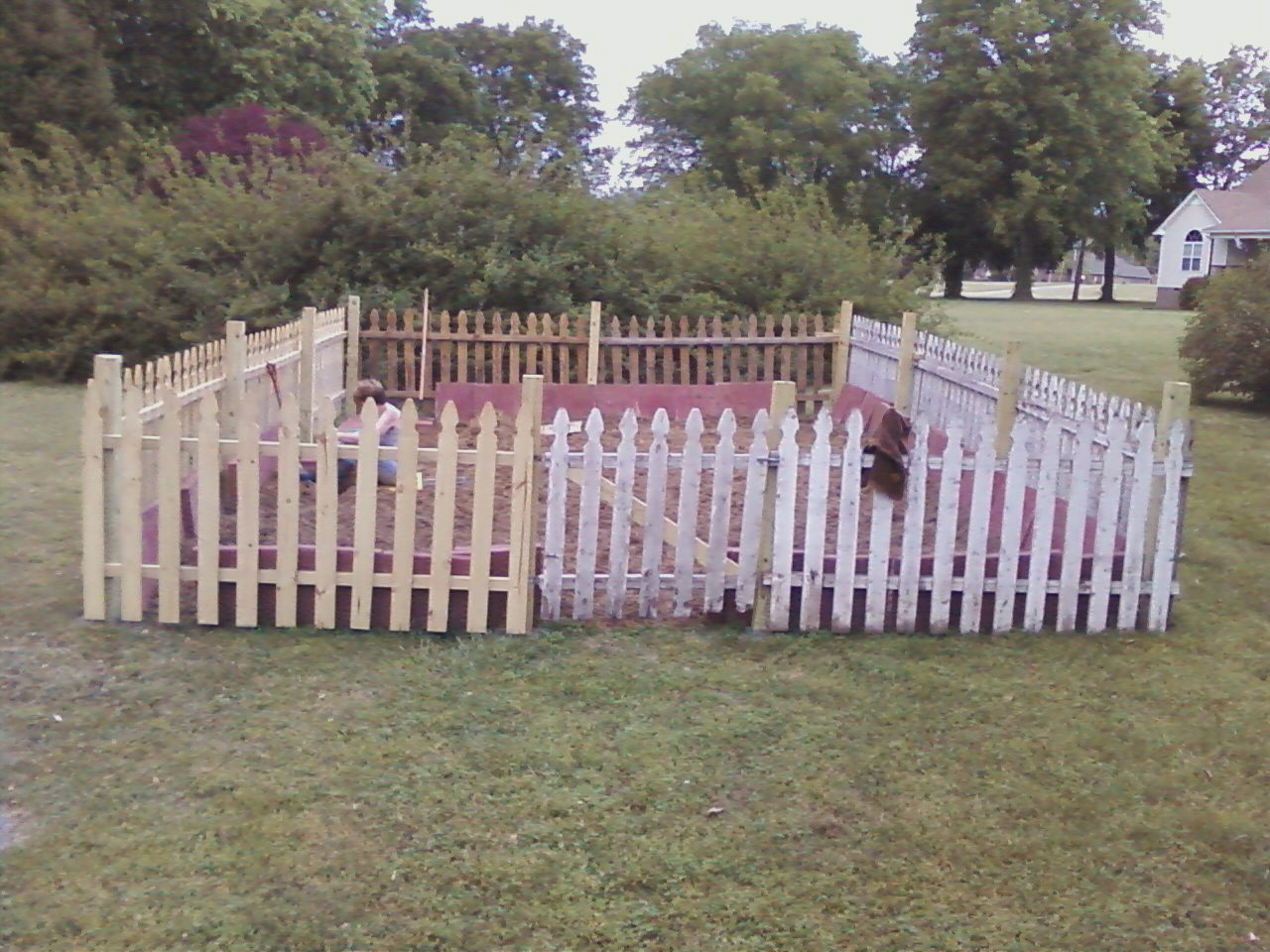 New and old fencing combined to keep the critters out