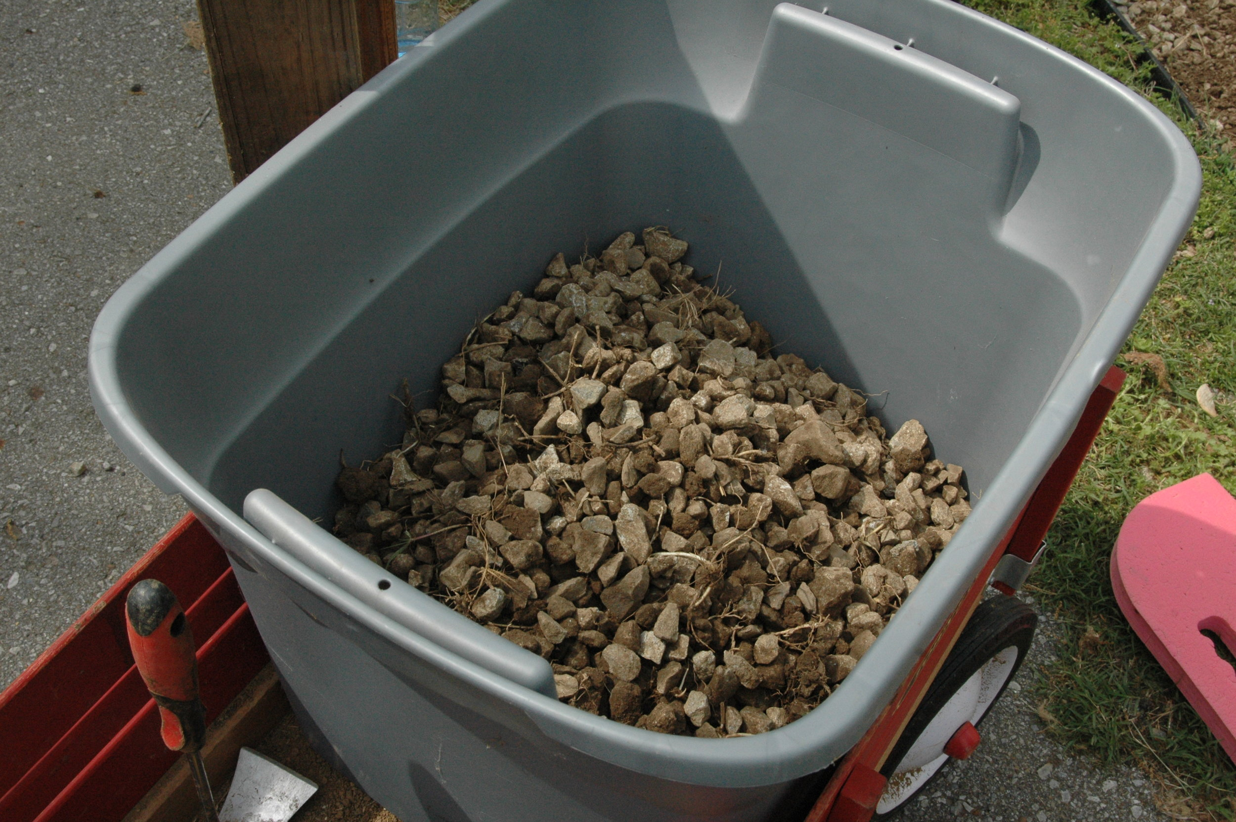 One of many boxes of rocks removed from the garden