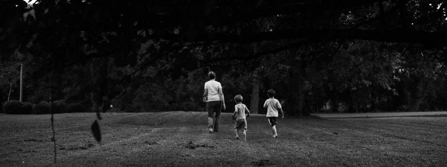 Capturing fireflies with grandchild