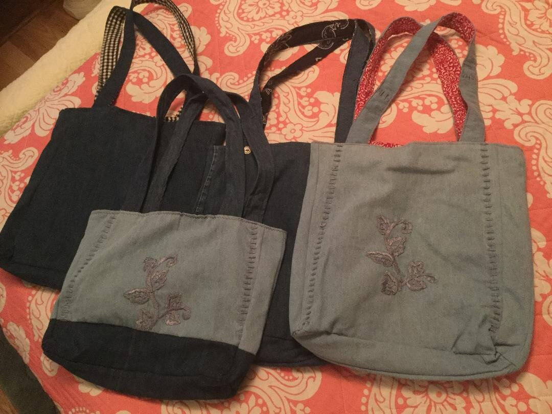 Book bags made from Mommys clothing.jpg