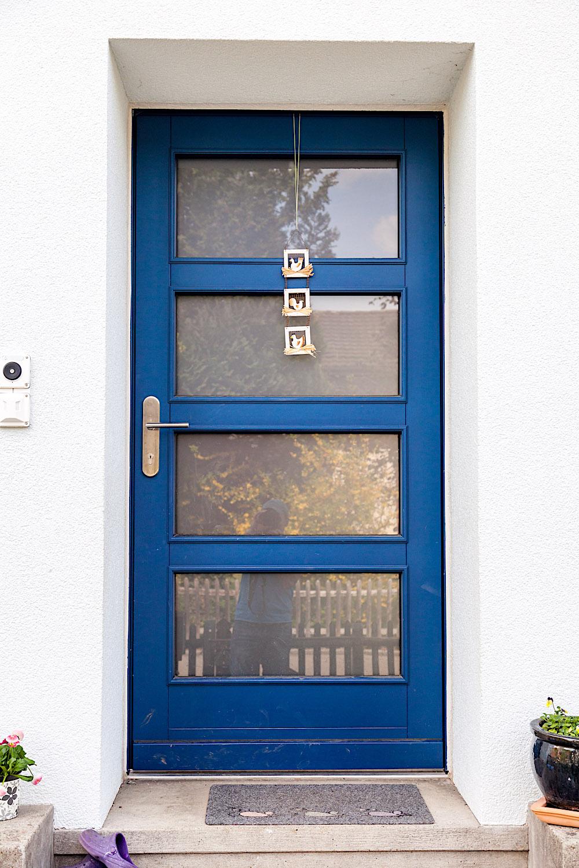 EFH in Wetzikon - Holz-Haustür in Kiefer-Rahmenkonstruktion mit glasteilenden MassivsprossenVerglasung: Satinato