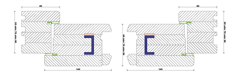 Rahmentür - Waagrechter Schnitt durch eine Holz-Haustür in Rahmenkonstruktionmit Stahlverstärkung im Flügel
