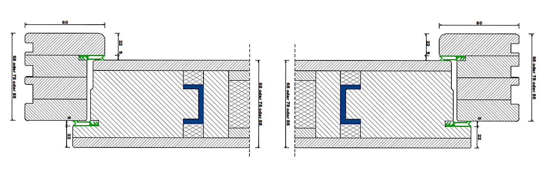 Türblatt-Konstruktion - Waagrechter Schnitt durch eine Holz-Haustür in Türblatt-Konstruktionmit Stahlverstärkung im Flügel