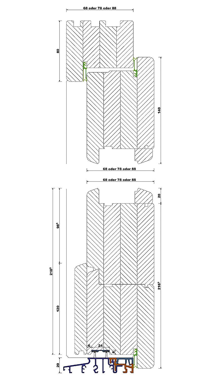 Rahmenkonstruktion - Aufrechter Schnitt mit Türschwelle