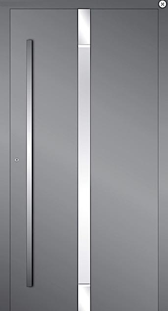 Aussenseite - Die Aussenseite der Holz-Aluminiumtüren ist von typischen Aluminiumtüren nicht zu unterscheiden. Der Holzrahmen und das Türblatt sind komplett mit einer pulverbeschichtetem Aluminiumschale bedeckt. Somit bekommt man von aussen eine robuste und absolut witterungsbeständige Haustüre.Oberfläche:Die Aussenschalen sind in sämtlichen Ral-Farbtönen sowie Struktur und Sonderoberflächen erhältlich