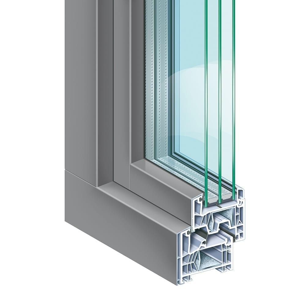 Kömmerling 76 AluClip - Das Kunststoff-Fenstersystem mit aufgeklipster Aluminium-Vorsatzschale ist sowohl mit Anschlagdichtung (5-Kammer) als auch mit Mitteldichtung (6-Kammer) erhältlich. Es kombiniert die Vorzüge beider Werkstoffe in einem Bauelement. Aussen bietet die Aluminium-Vorsatzschale nahezu unbegrenzte Farbmöglichkeiten, innen garantieren Kunststoffprofile geringen Pflegeaufwand, Formstabilität sowie hohe Funktionssicherheit.KÖMMERLING 76 Mitteldichtung bietet Ihnen alle Vorteile moderner Fenster. Das Mitteldichtungssystem mit sechs Kammern und einer Bautiefe von 76 mm besticht durch modernes Design und perfekte Profilproportionen. Über die Funktion, Bauphysik und Dämmwerte bis hin zum Umweltschutz und der Werterhaltung erfüllt es die heutigen und vor allem zukünftigen Ansprüche. Die Konstruktion von KÖMMERLING 76 Mitteldichtung ist so innovativ gestaltet, dass moderne 3-fach Verglasungen oder spezielle Funktionsgläser bis 48 mm Dicke eingesetzt werden können.Das System erfüllt die Anforderungen für Niedrig-Energiehäuser – Uf-Wert = 1,0 W/(m²K). Die intelligente Gesamtkonstruktion steigert Wärme- und Schalldämmung beträchtlich, das bedeutet für Sie mehr Lebensqualität, Wirtschaftlichkeit und Sicherheit.