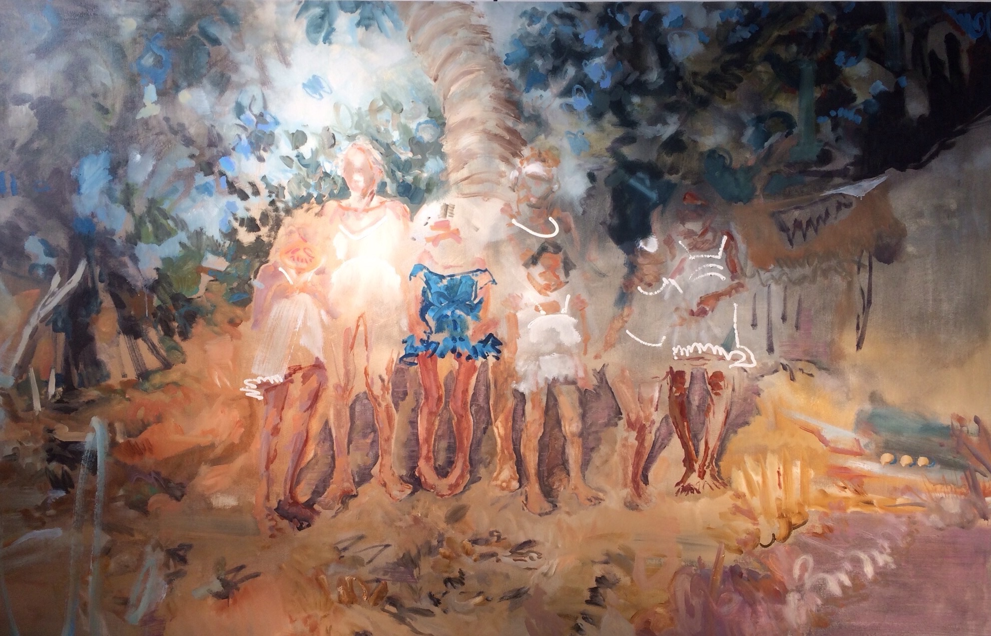 Sunday Mass in Puerto, 2017, Oil on Canvas, 62 X 96 inches