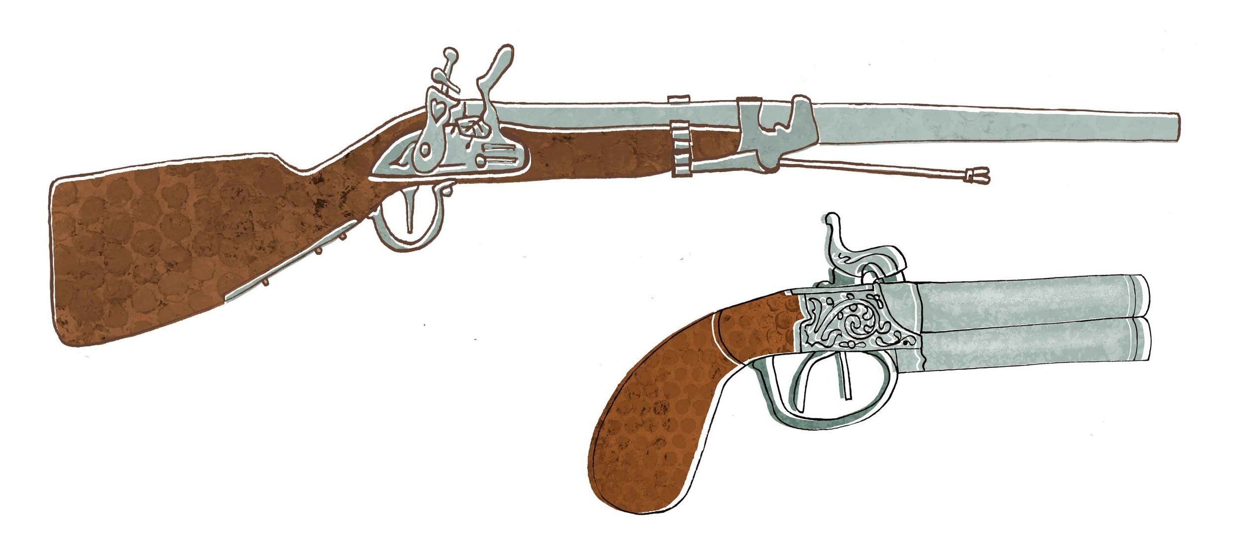 Graham's gun and the keeper Simpson's pistol