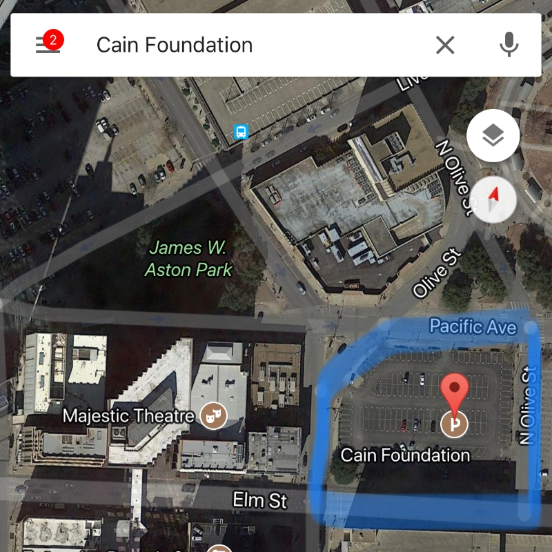 Meet us at the parking lot (Next to the Majestic Theatre. Outlined in blue above)