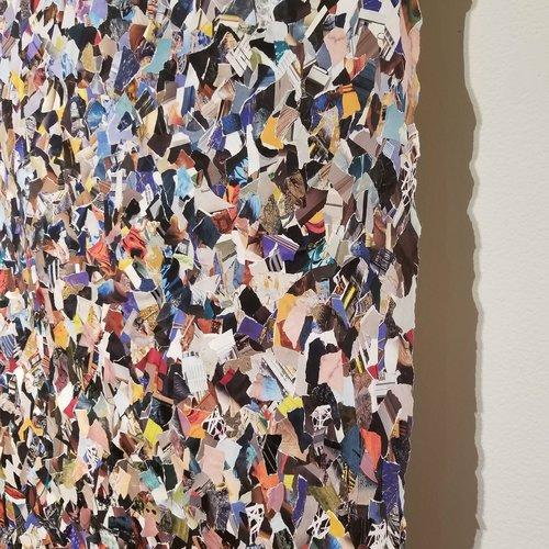 """""""Scheherazade,"""" 2017, collage on unstretched canvas, 48"""" x 96"""""""