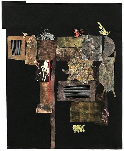 "Hereford, TX, 1943:  Mixed Media Fabric Panel, 2017, 50"" x 40"""