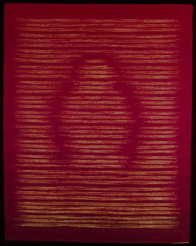 """""""Golden"""", 2014, handwoven tapestry: wool, natural dyes, 47""""h x 37""""w"""