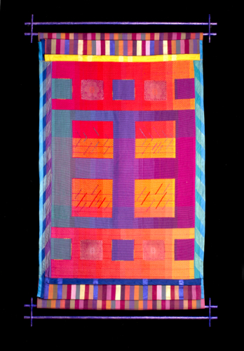 "Colors of Gujarat: Common Threads #2, 2016, H 42"" x W 26"", cotton yarns, fabrics, bias tape, wood and paint; weaving, photographic transfer, piecework, embroidery  Photography credit: Andrew Neuhart"