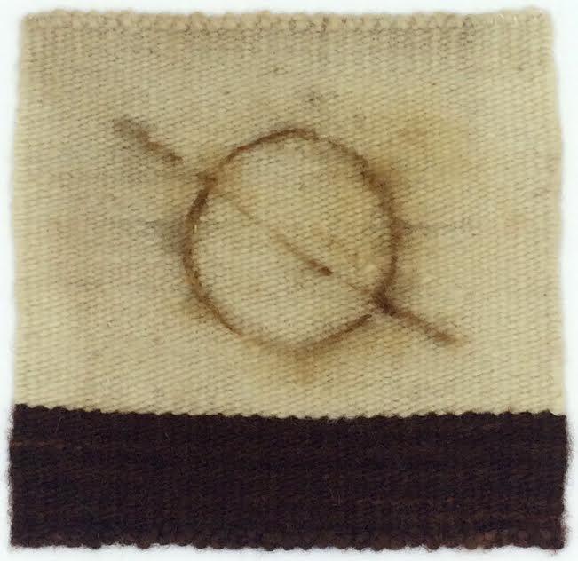 "Hobo Signs: Good Road to Follow (Roads Series) , 2018, wool / rust / cotton on rag board 12""x12"""