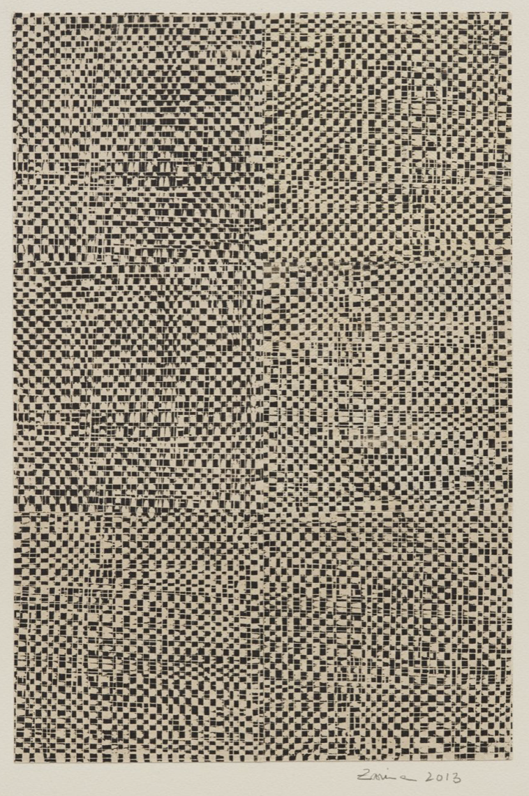 Zarina Untitled, 2013  Collage of woodcuts printed in black on Indian handmade paper mounted on Arches Cover buff paper
