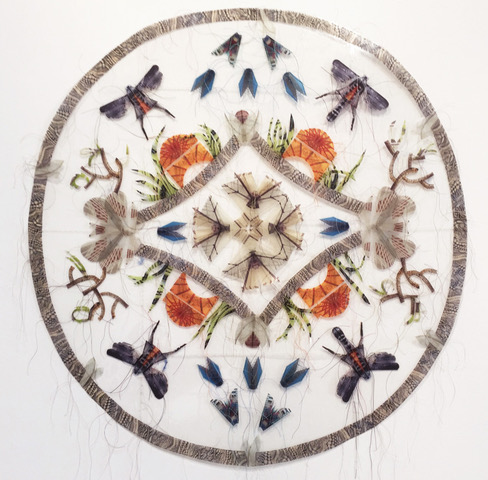 """Close Encounters   Digital photographs printed on transparency, hand-stitched. (36""""round)"""