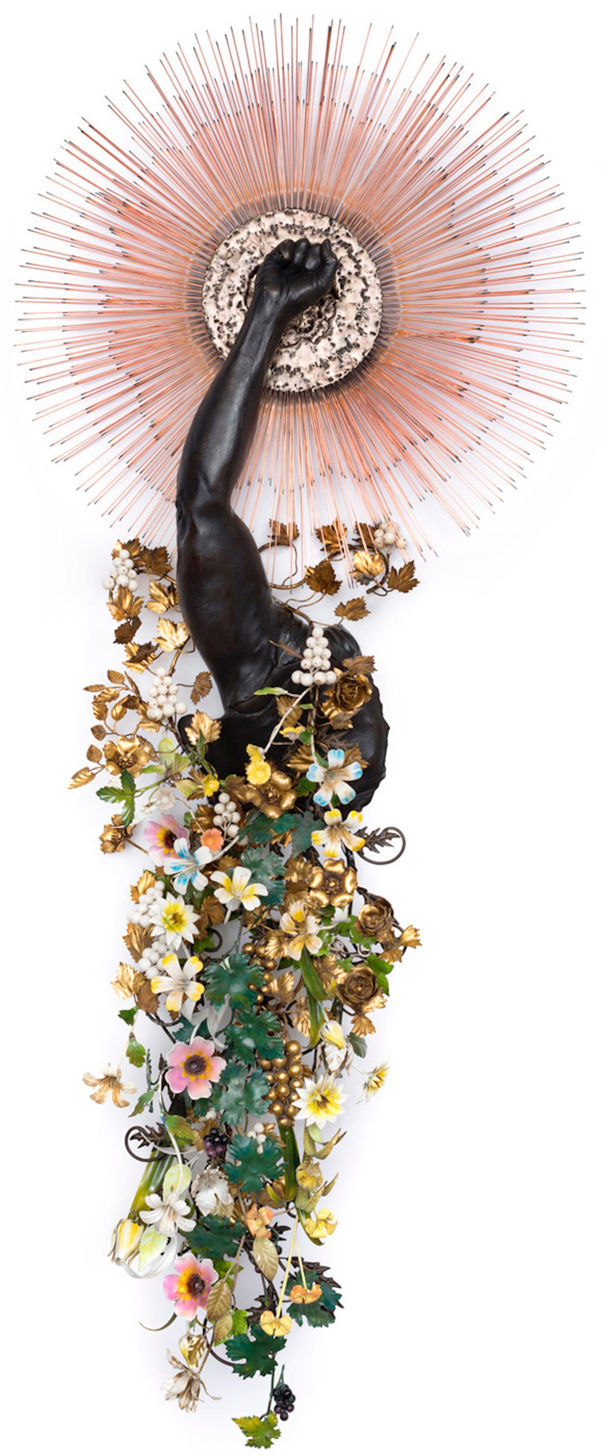 NICK CAVE, Arm Peace, Cast bronze, vintage sunburst and tole flowers  80 1/2 x 32 1/2 x 13 3/4 inches