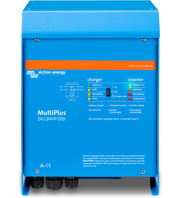 Victron Energy Multiplus 12/3000/120-50 120V Inverter Charger - This might be a little overkill, but it's one of a few luxuries we have on board an otherwise (mostly) modest yacht. We wanted an inverter that we could use to run either our A/C or industrial dehumidifier while running the engine or getting a good output from our solar panels. We also wanted a battery charger that we could monitor wirelessly on any of our devices. This does it all!