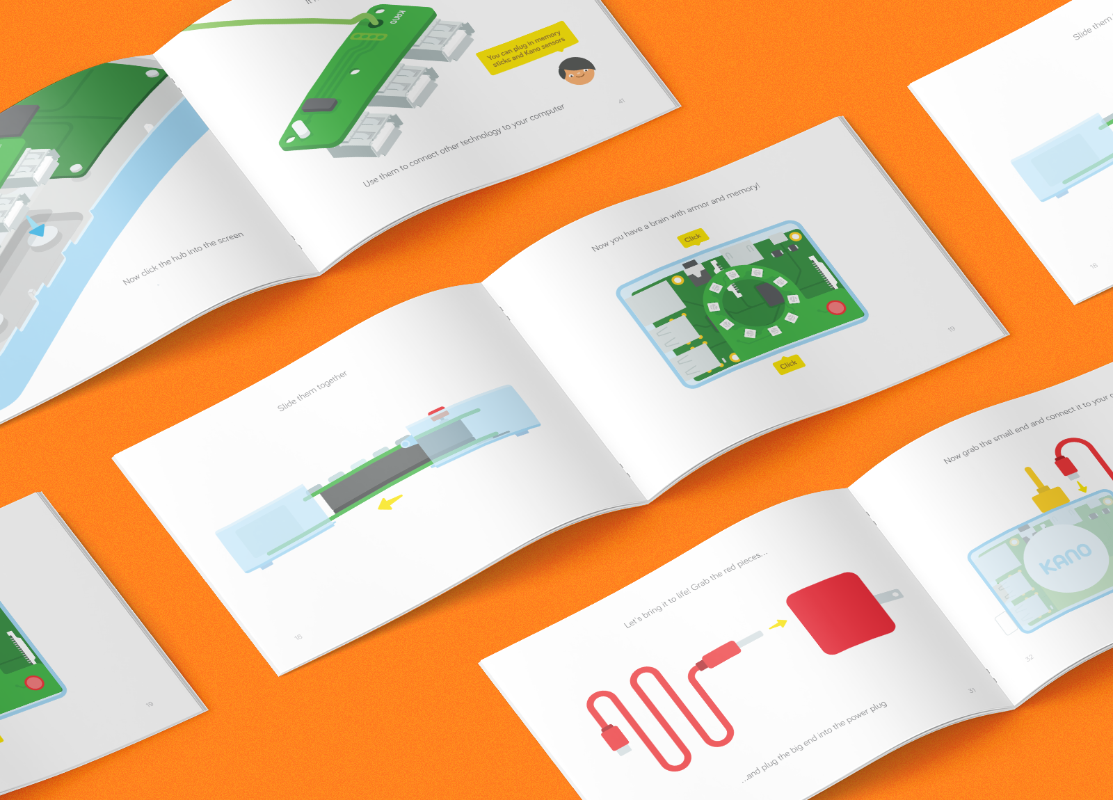 Kano Storybooks - I've designed, illustrated, written several editions of Kano's storybook together with the amazing team at Kano. Each coding kit comes with a booklet to demystify the device you're about to make and code.See more →