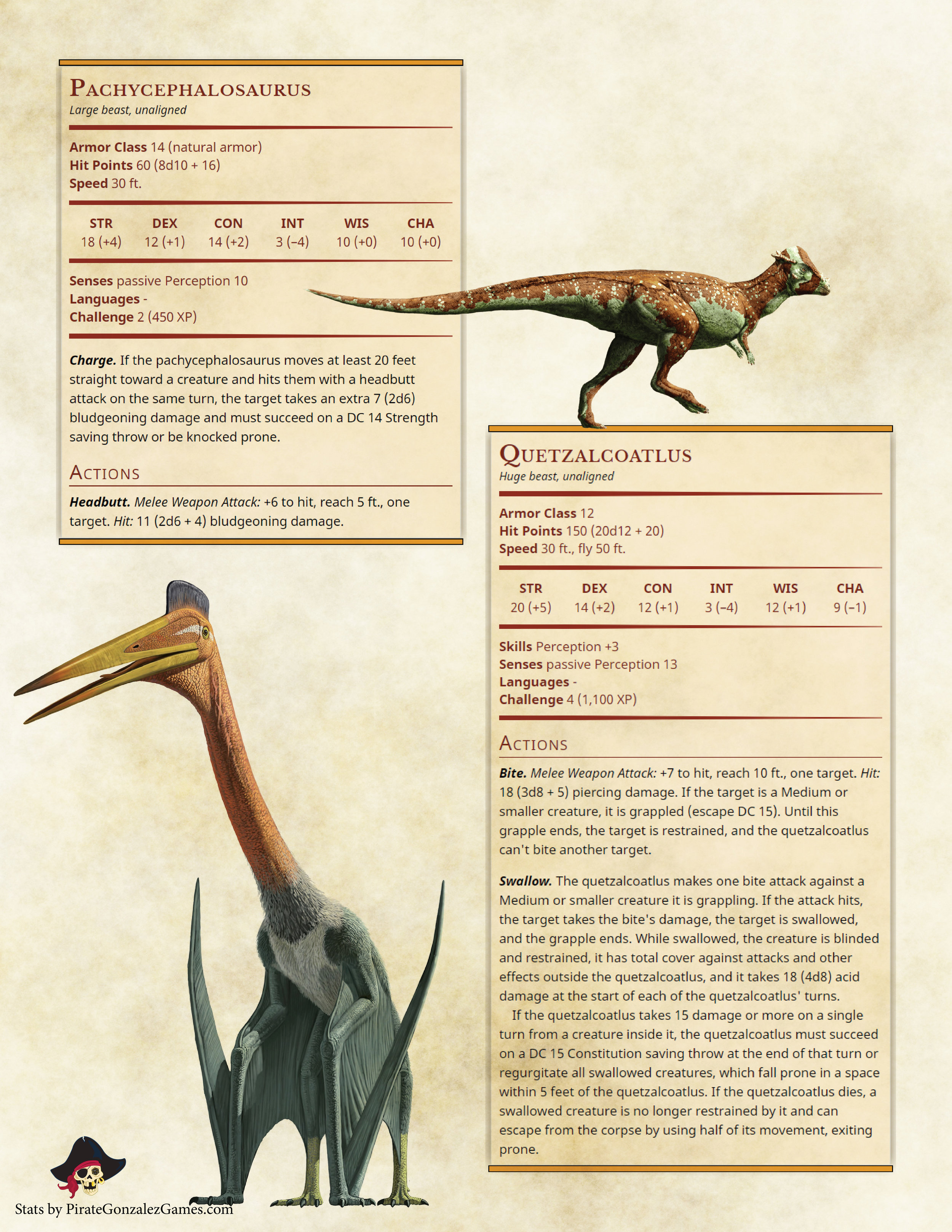 Pachycephalosaurus, Quetzalcoatlus