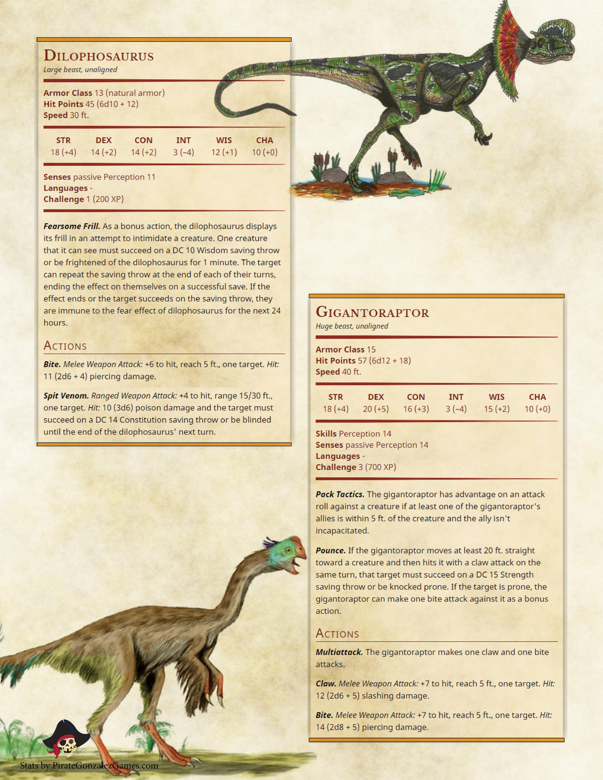 Dilophosaurus, Gigantoraptor