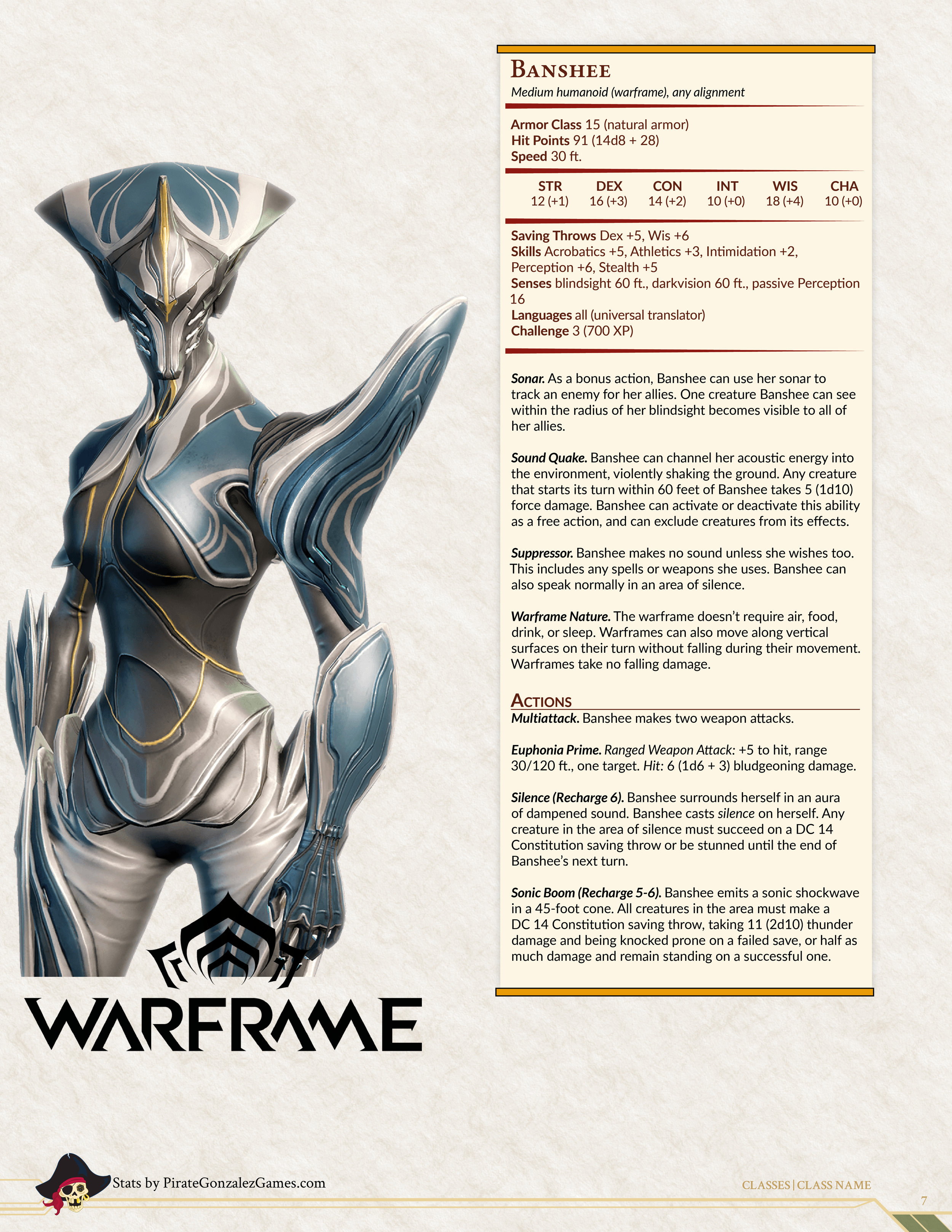 Warframe 5e Update — Pirate Gonzalez Games